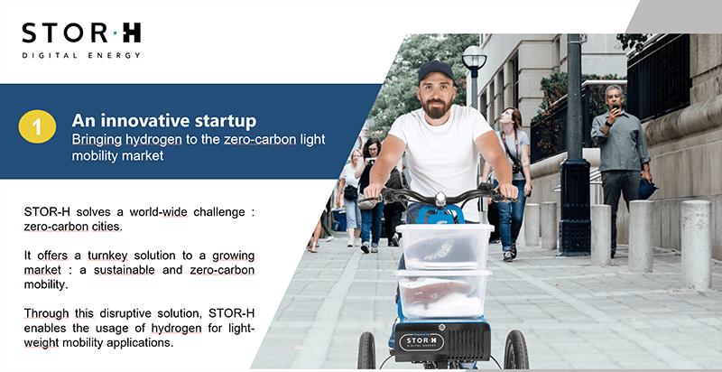 Réalisation d'un slide deck pour la levée de fonds de la startup Stor-h